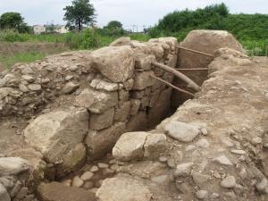 K-9号古墳石室側壁状況